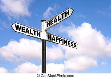 signpost, saúde, riqueza, felicidade