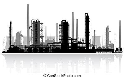 silhouette., refinaria, óleo