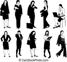 silhouettes., desenhistas, vetorial, mulheres negócios, ilustração