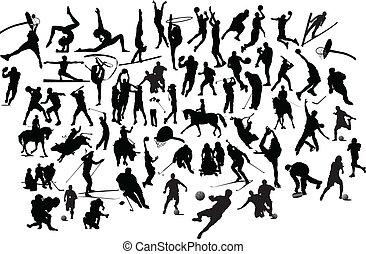 silhouettes., ilustração, vetorial, pretas, cobrança, branca, desporto
