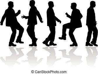 silhouettes., macho, dançar
