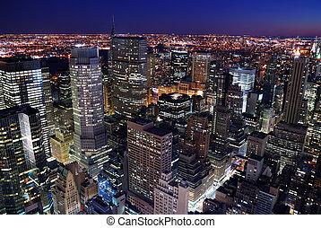 silhueta urbana, aéreo, vista cidade
