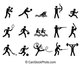 silhuetas, ícone, pessoas, desporto