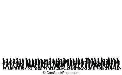 silhuetas, andar, pessoas