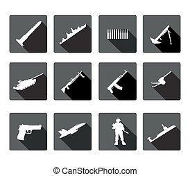silhuetas, arme, pretas, branca