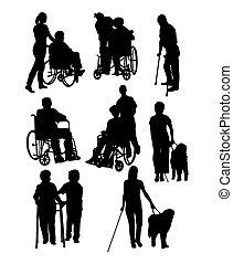 silhuetas, atividade, incapacidades, pessoas