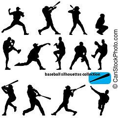 silhuetas, basebol, cobrança