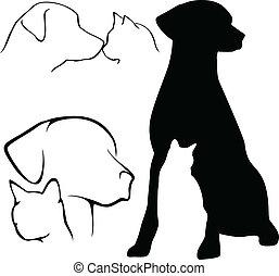 silhuetas, &, cão, gato