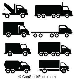 silhuetas, caminhão