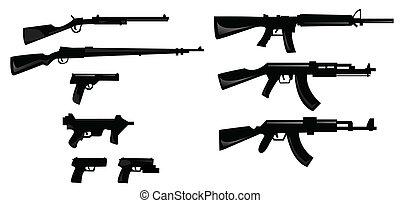 silhuetas, cobrança, arma