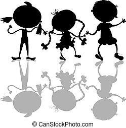 silhuetas, crianças, pretas