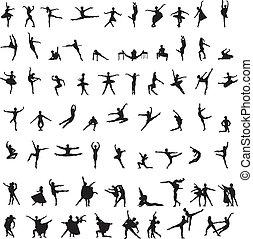 silhuetas, dançarino, jogo, balé