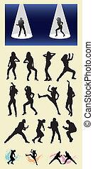 silhuetas, dançarino, macho, femininas