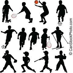 silhuetas, desporto, crianças
