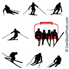 silhuetas, esqui, cobrança