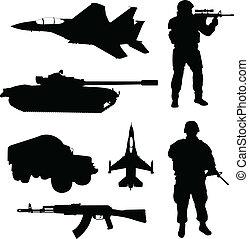 silhuetas, exército