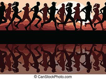 silhuetas, executando, vetorial, corredores, fundo, maratona