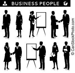 silhuetas, flipcharts, pessoas negócio
