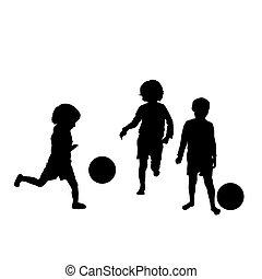 silhuetas, futebol, crianças