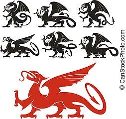 silhuetas, heraldic, mítico, dragão, griffin