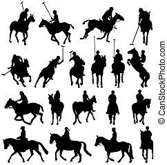 silhuetas, horsebackriding, cobrança