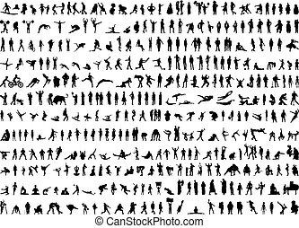 silhuetas, human, centenas