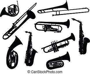 silhuetas, instrumentos vento