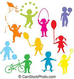 silhuetas, jogar crianças, colorido