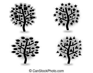 silhuetas, jogo, árvores
