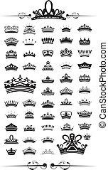 silhuetas, jogo, vetorial, coroa, 50