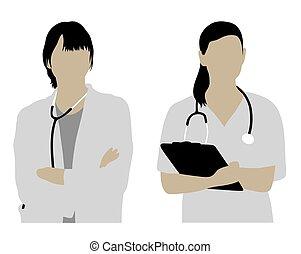 silhuetas, médico feminino