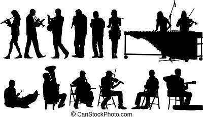 silhuetas, músicos