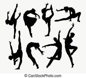 silhuetas, macho, dançarino, femininas