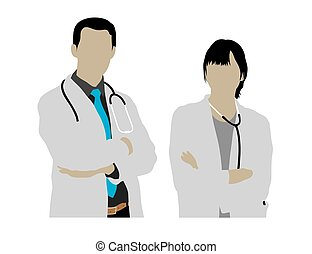 silhuetas, macho, médico feminino