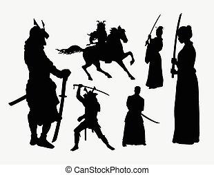silhuetas, macho, samurai, femininas