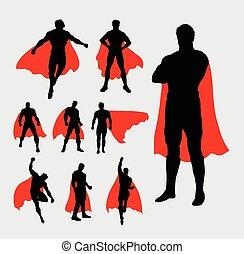 silhuetas, macho, superhero