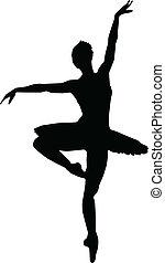 silhuetas, menina, dança, balé