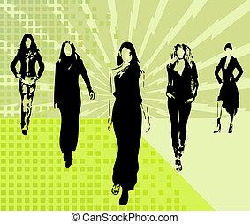 silhuetas, moda, meninas