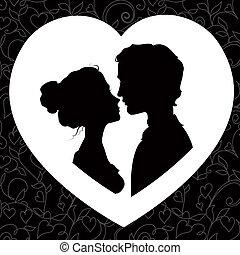 silhuetas, par, amando