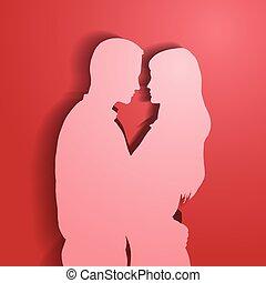 silhuetas, par., amando