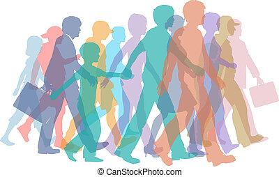 silhuetas, passeio, torcida, coloridos, pessoas