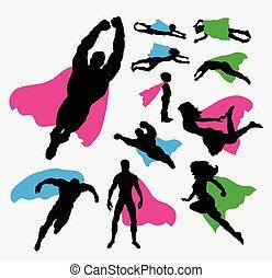 silhuetas, pose, superhero