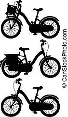 silhuetas, pretas, bicycles