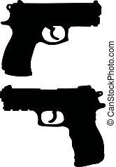silhuetas, pretas, handguns