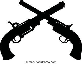 silhuetas, pretas, handguns, histórico