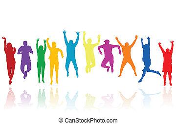 silhuetas, pular, grupo, jovens
