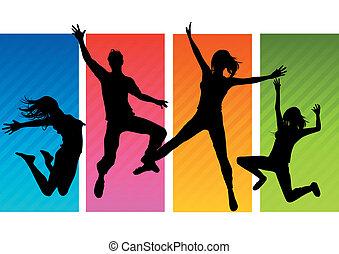 silhuetas, pular, pessoas