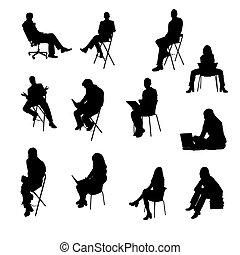 silhuetas, sentando, pessoas negócio