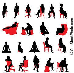 silhuetas, sentando, pessoas