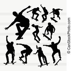 silhuetas, skateboarder